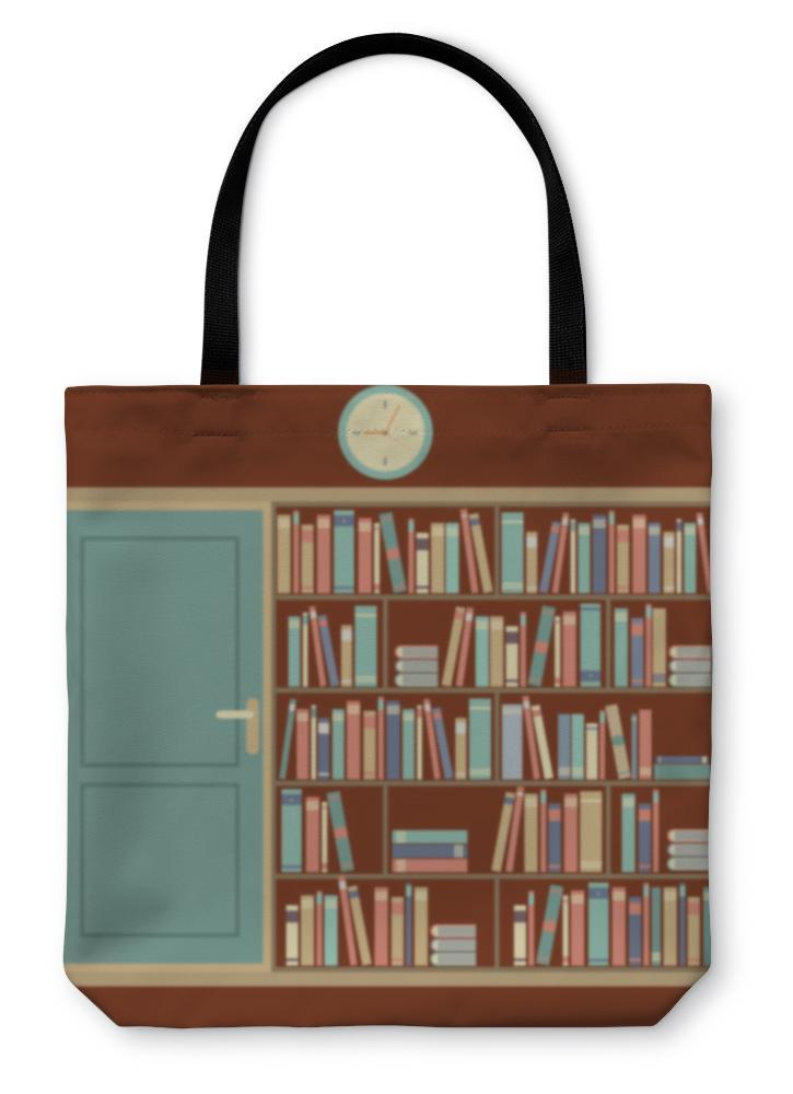 Tote Bag, Bookcase In Reading Room Illustration - Outletfy