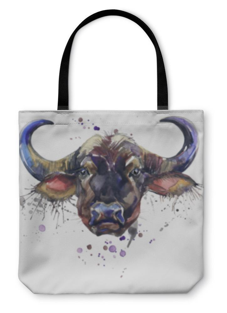 Tote Bag, Buffalo Tshirt Graphics African Animals Buffalo Illustration With Splash - Outletfy