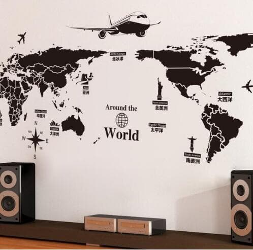 World Map Wall Can be removed Stickers DIY 1