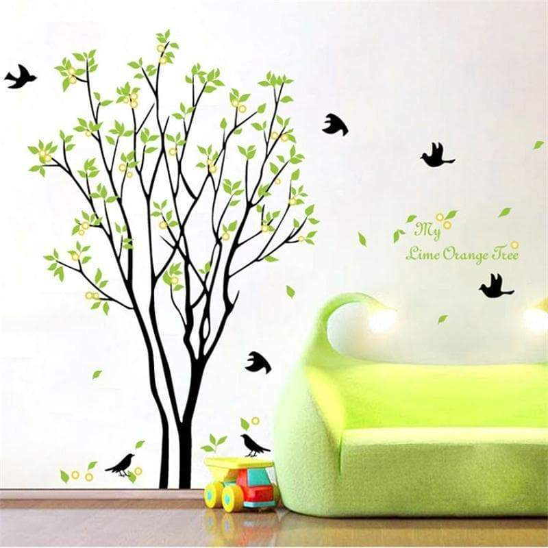 ZooYoo green trees pastoral wall stickers zooyoo9094 home decoration diy removable wall decal bedroom