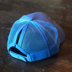 Light Blue Mesh Back Ponytail Cap