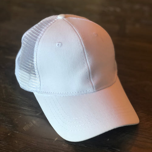 White Mesh Back Ponytail Cap