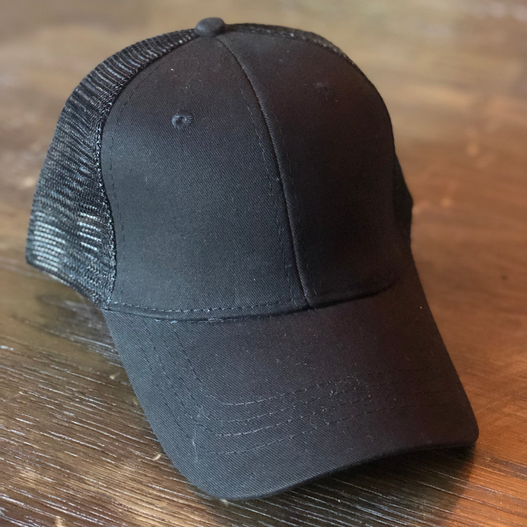 Black Mesh Back Ponytail Cap