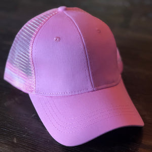 Light Pink Mesh Back Ponytail Cap