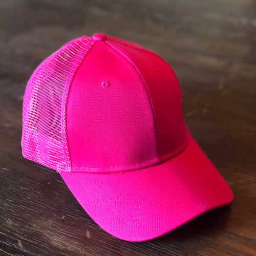 Hot Pink Mesh Back Ponytail Cap