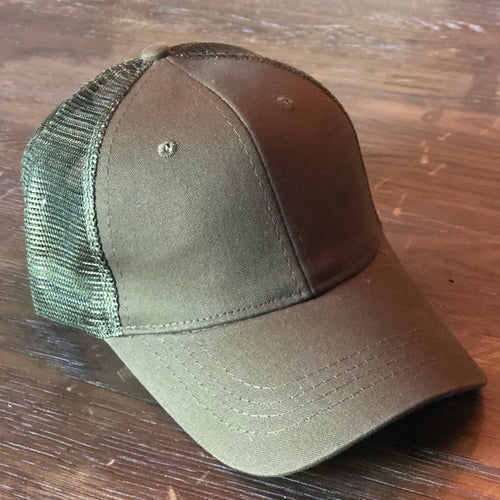 Olive Green Mesh Back Ponytail Cap