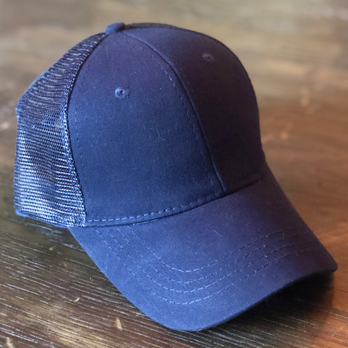 Navy Mesh Back Ponytail Cap