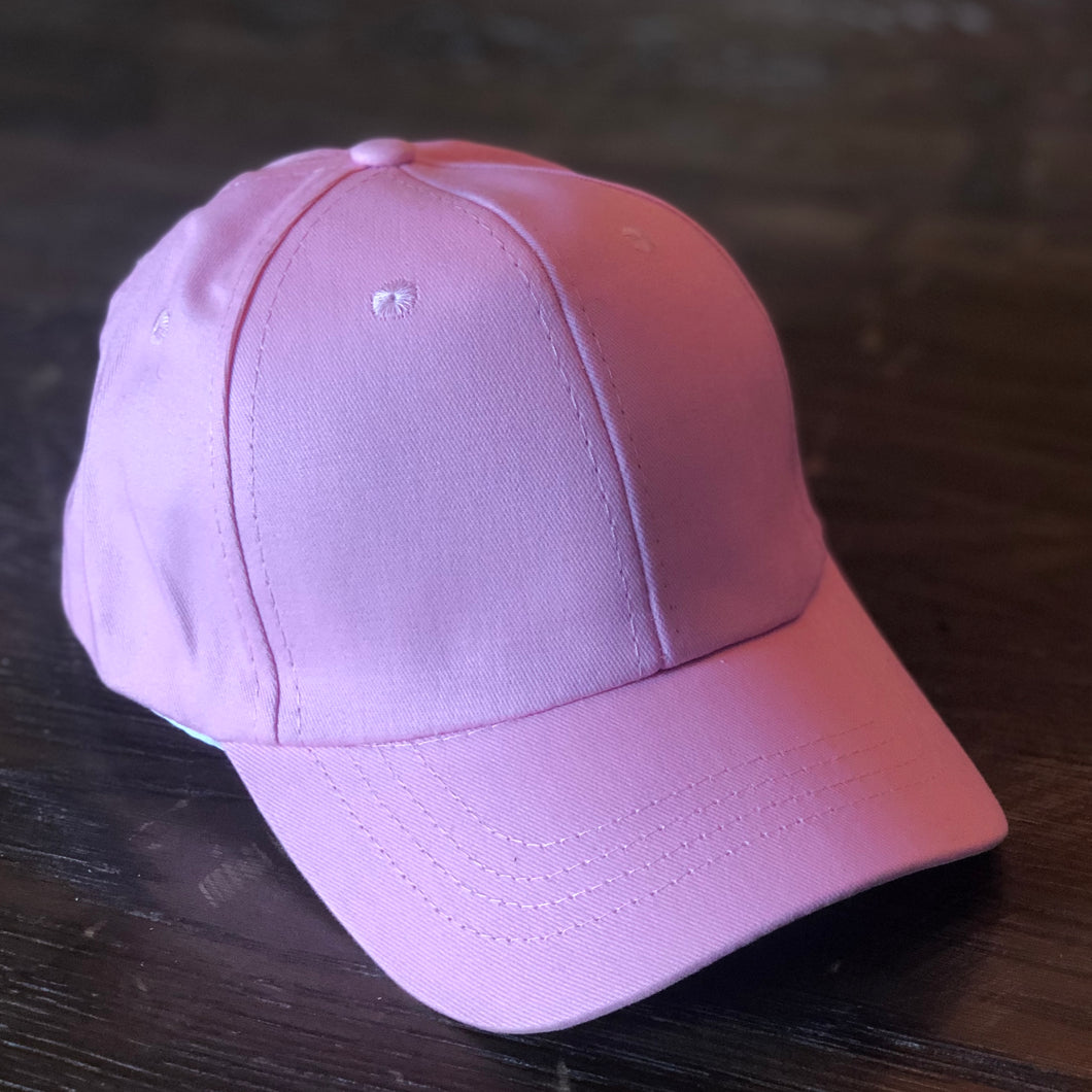 Kids Pink Ponytail Cap