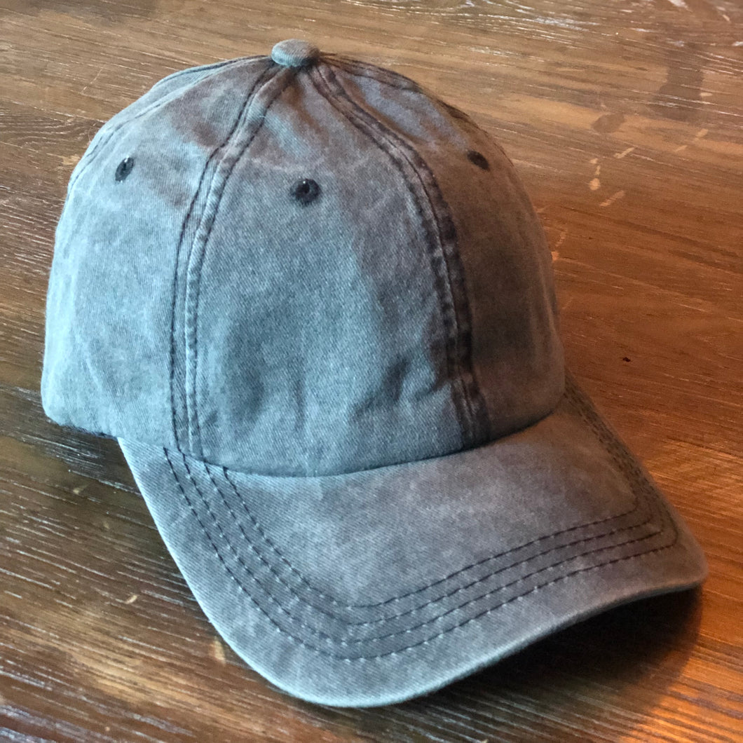 Dark Grey Distressed Ponytail Cap