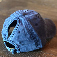 Load image into Gallery viewer, Navy Distressed Ponytail Cap