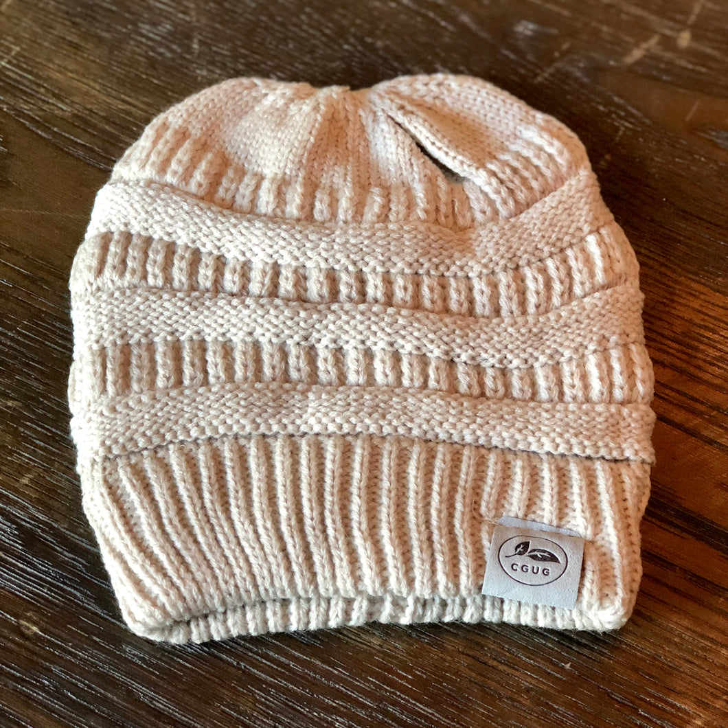 Cream Ponytail Hat