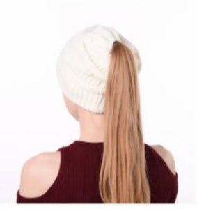 White Ponytail Hat