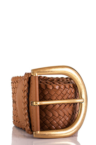 Chanel CC woven leather chain link belt Size XS
