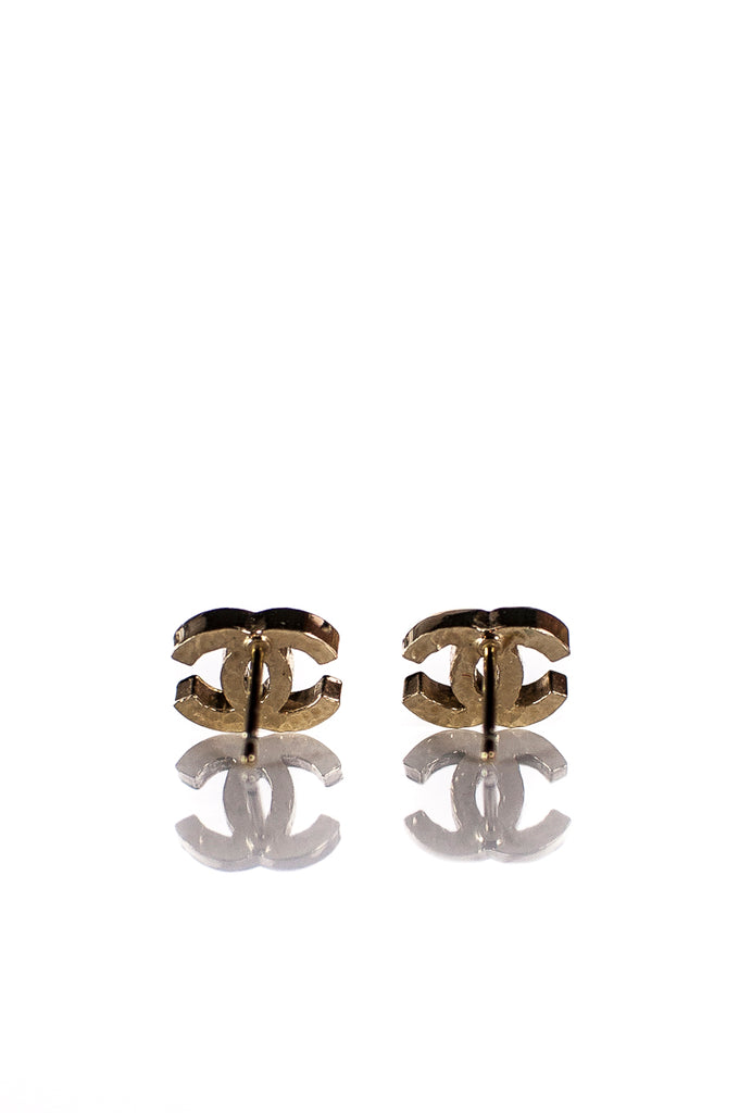 Chanel Gold-Tone Interlocking CC Stud Earrings - OWN THE COUTURE