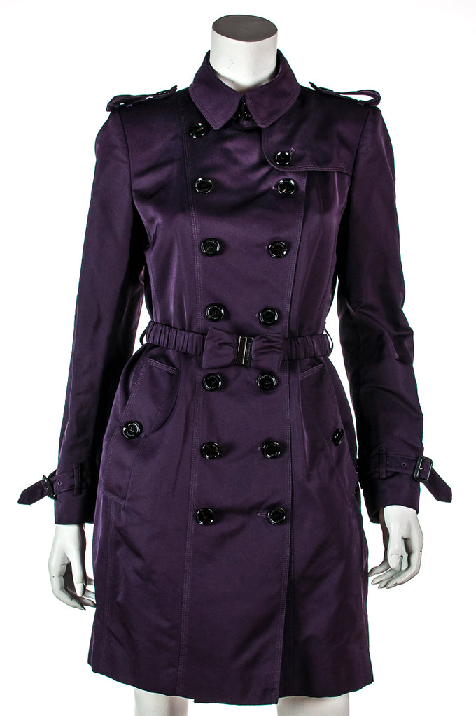 Burberry Purple Double Breasted Trench Coat Size S |  UK 10 - OWN THE COUTURE