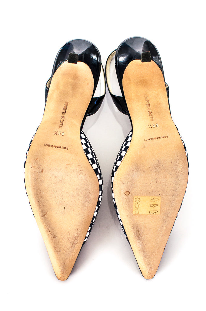 "Manolo Blahnik check ""Carolyne"" slingback pump Size 9.5 - OWN THE COUTURE"