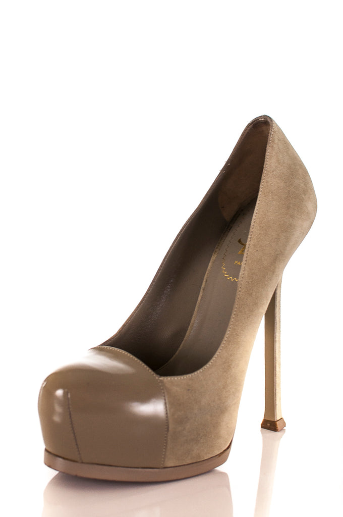 71277292510 ... Yves Saint Laurent cap toe Tribute Two platform pumps Size 7