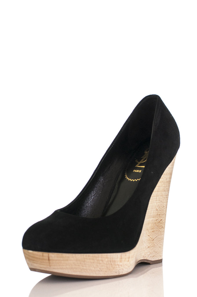 yves saint laurent suede maryna wooden wedge pumps new own the rh ownthecouture com