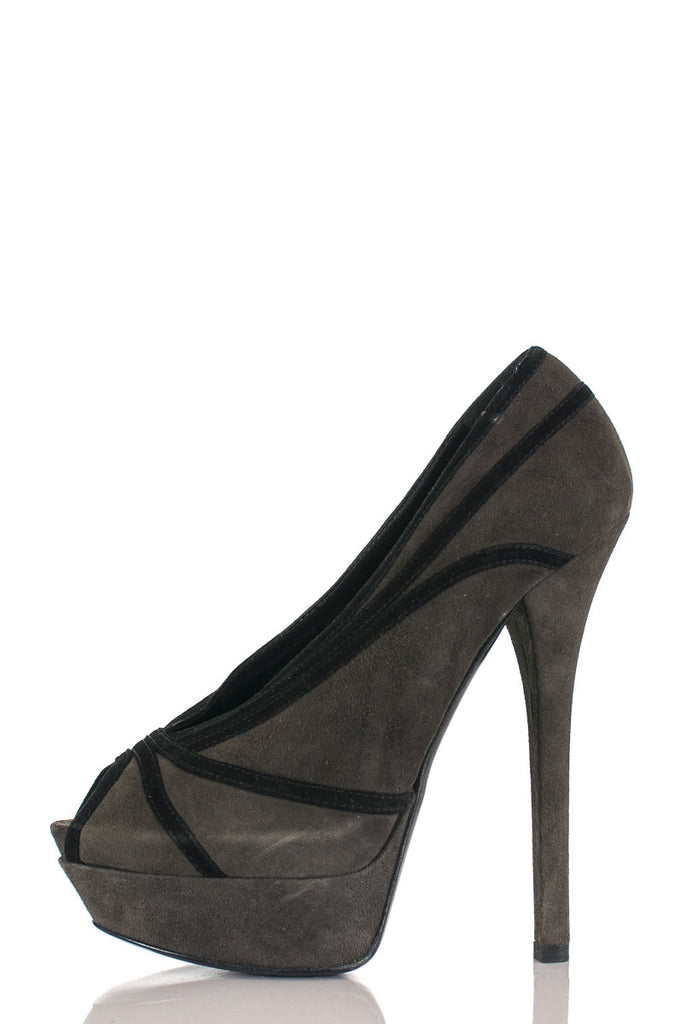 Fendi suede peep toe Jardin platform pumps Size 9  [40% OFF] - OWN THE COUTURE