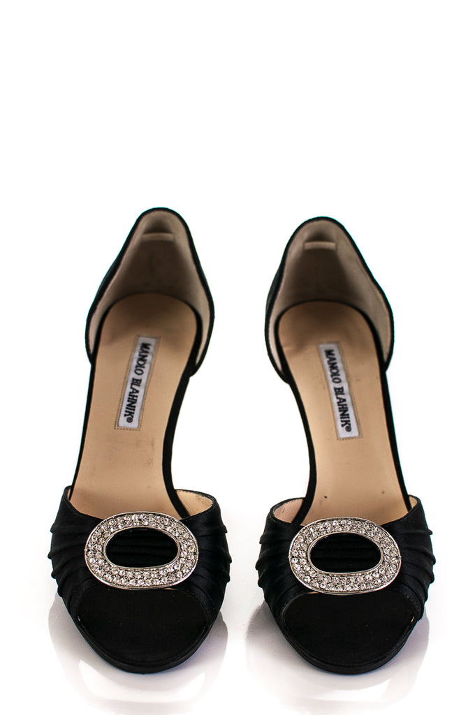 Manolo Blahnik embellished Sedaraby satin peep toe pumps Size 7 [40% OFF] - OWN THE COUTURE