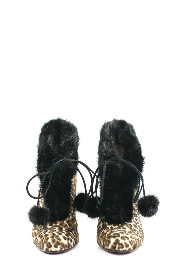 Christian Louboutin leopard print Mouflette fur trimmed booties New Size 7 - OWN THE COUTURE  - 2