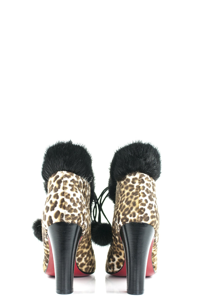 Christian Louboutin leopard print Mouflette fur trimmed booties New Size 7 - OWN THE COUTURE  - 4