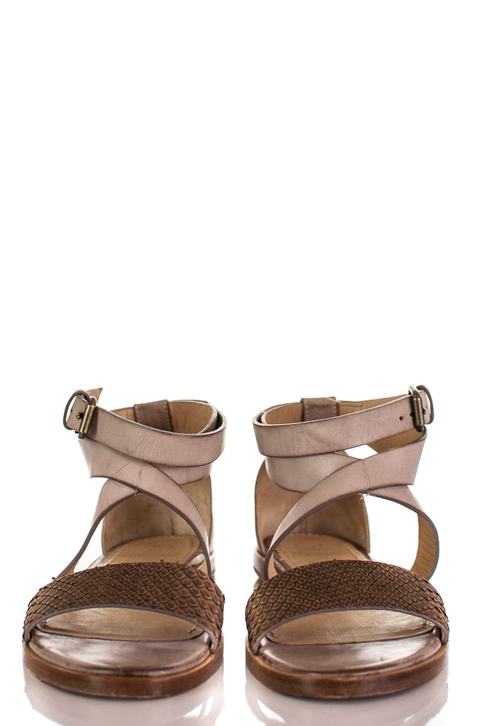 Brunello Cucinelli snakeskin print flat sandals Size 7 | EU 37 - OWN THE COUTURE