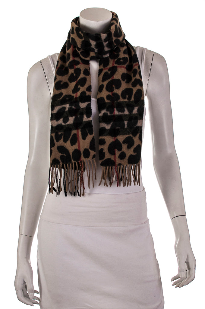 Burberry leopard print and check scarf - OWN THE COUTURE
