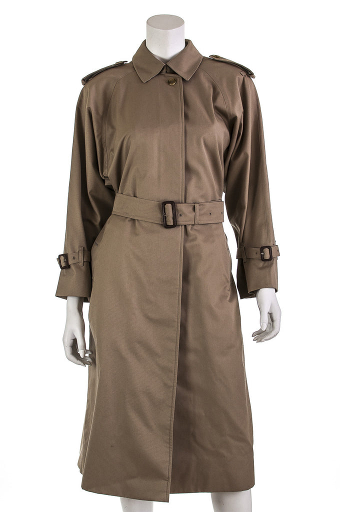 Burberry gabardine long trench coat Size L | 10 Petite - OWN THE COUTURE