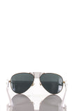 Versace Medusa leather-trimmed aviator sunglasses New - OWN THE COUTURE