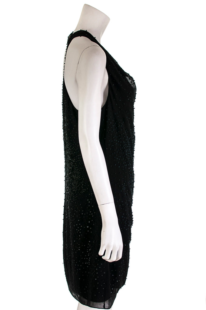 Helmut Lang leather embellished silk dress Size L | US 10 - OWN THE COUTURE
