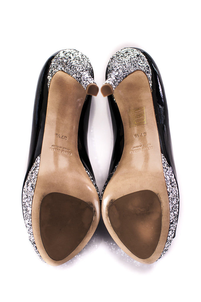 Miu Miu patent leather and glitter Vernice pumps Size 7.5  [40% OFF] - OWN THE COUTURE