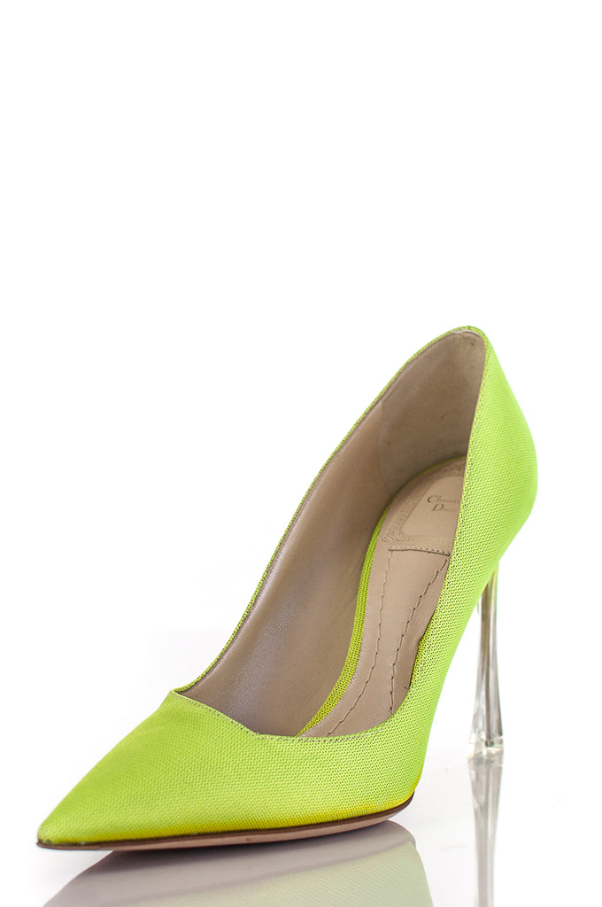 e9d87e363cf ... Christian Dior neon Songe pointed toe pumps Size 6.5