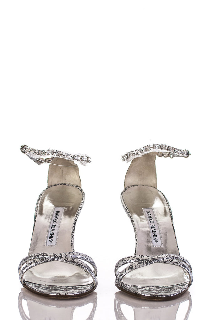 Manolo Blahnik metallic print and crystal Arfiusan Casba sandals New Size 10 - OWN THE COUTURE