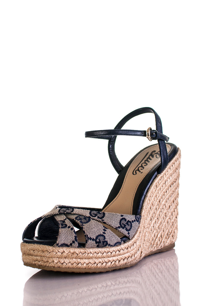 05e9824aecb ... Gucci canvas monogram espadrilles wedge sandals Size 6.5 - OWN THE  COUTURE ...