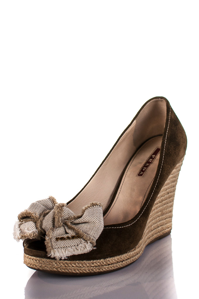 be539d53c32d ... Prada suede peep toe espadrille wedge sandals Size 8.5