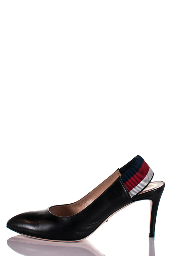 Gucci leather web sling back pumps Size 8 | EU 38 - OWN THE COUTURE