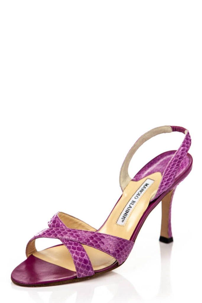 20c069af01 ... Manolo Blahnik Pink Snakeskin Sandals New Size 8.5 | EU 38.5 - OWN THE  COUTURE ...