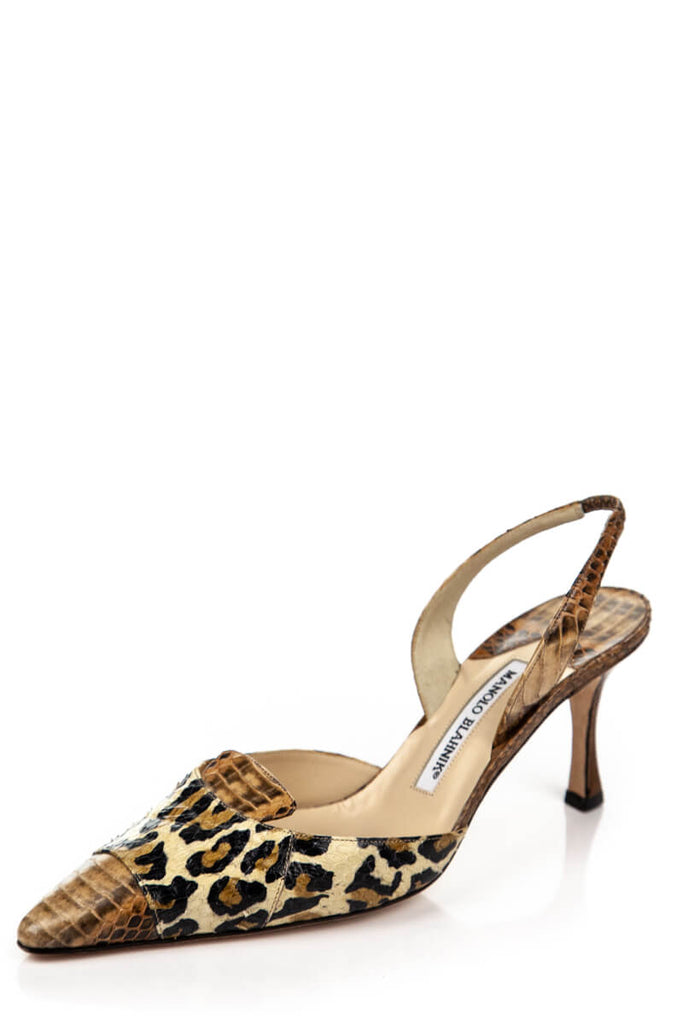 2ad74eb06d680 ... Manolo Blahnik Snakeskin and Leopard Print Slingback Pumps Size 8.5 |  EU 38.5 - OWN THE ...
