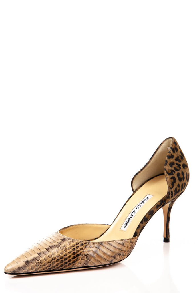 a94b3692d7a3 ... Manolo Blahnik Snakeskin and Leopard Print D Orsay Pumps New Size 8