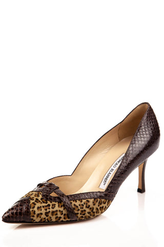 925fbd257448 Manolo Blahnik Snakeskin and Leopard Print Brown Pumps Size 8.5