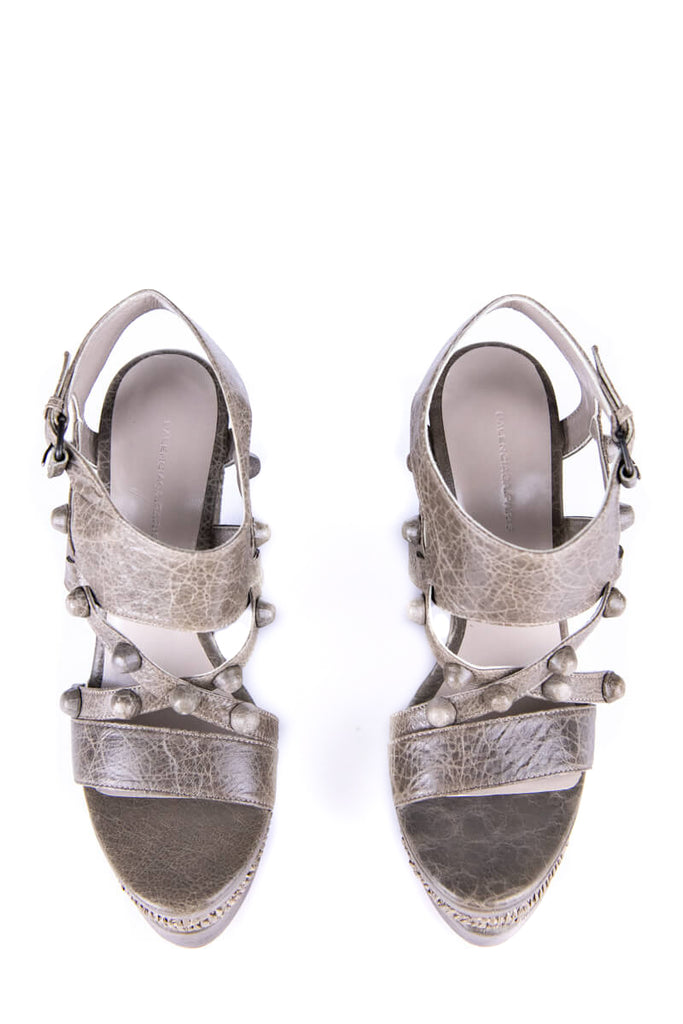 Balenciaga Gray Leather Arena Wedge Sandals New Size 8 | EU 38 - OWN THE COUTURE