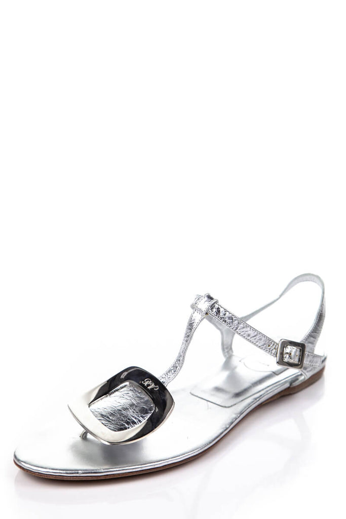 8acc3273be3 ... Roger Vivier Silver T-Strap Leather Sandals Size 8.5