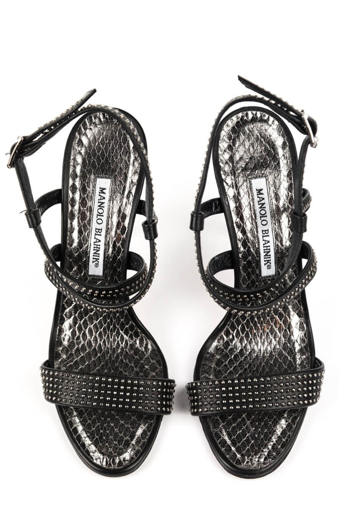 Manolo Blahnik Silver Studded and Snakeskin Sandals Size 8.5 | EU 38.5 - OWN THE COUTURE