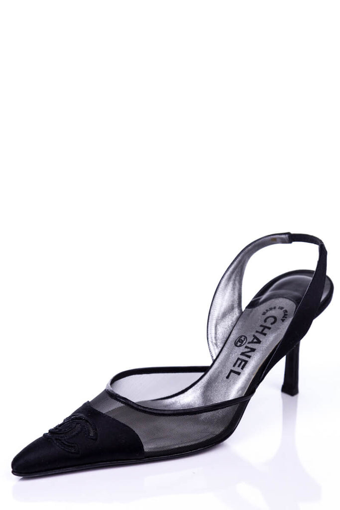 b00321a528e1 ... Chanel Black Satin and Mesh CC Slingback Pumps Size 8.5