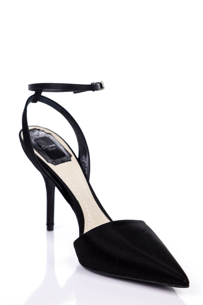 Christian Dior Black Satin Ankle Strap Pumps New Size 8.5 | EU 38.5 - OWN THE COUTURE
