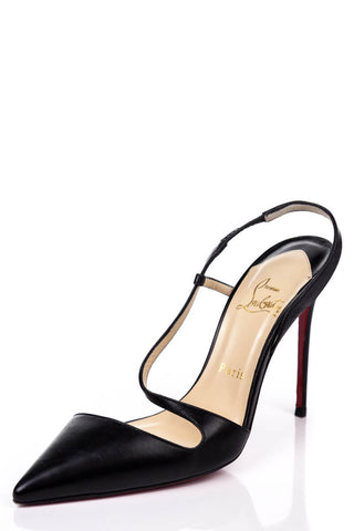 e2943a521dc2 Christian Louboutin Black Leather Crossover Slingback Pumps Size 8.5