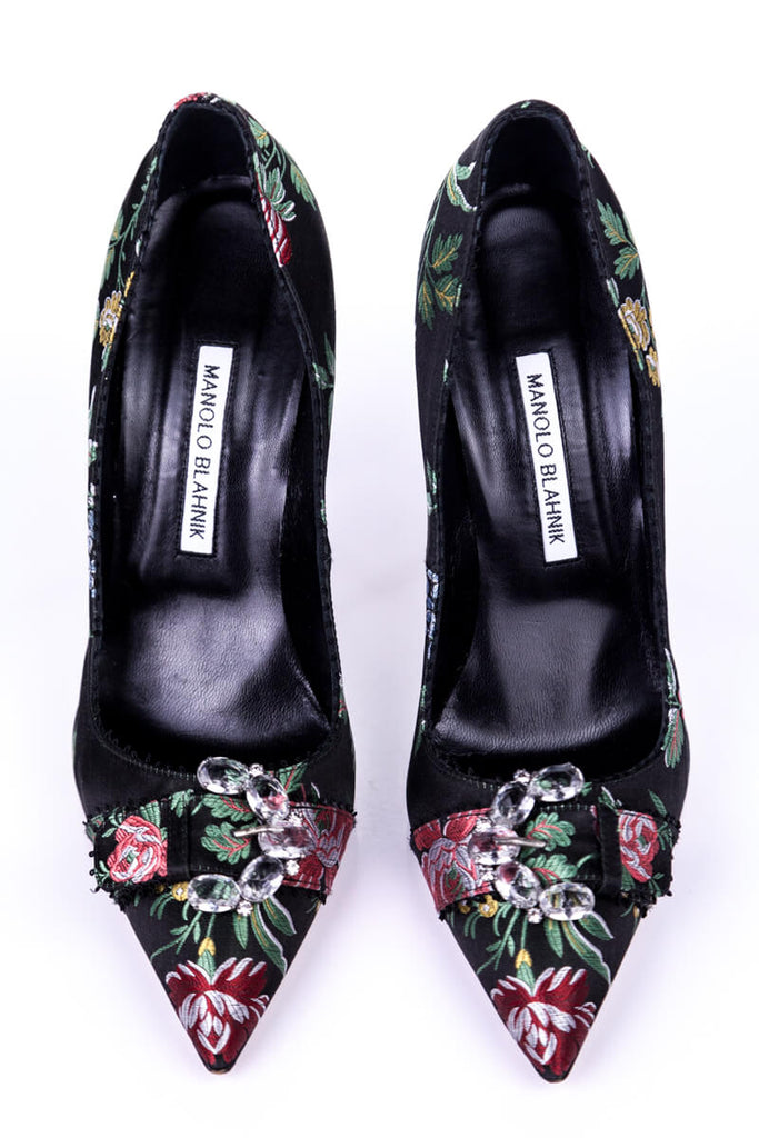 Manolo Blahnik Black Floral Print Satin Brocade Embellished Pumps Size 9 | EU 39 - OWN THE COUTURE