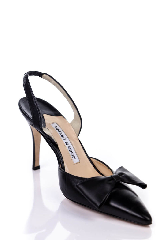 Manolo Blahnik Black Leather Bow Sling Back Pumps New Size 8.5 | EU 38.5 - OWN THE COUTURE