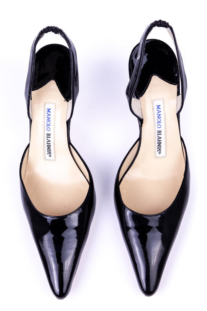 Manolo Blahnik Black Patent Carolyne Sling Back Pumps New Size 9 | EU 39 - OWN THE COUTURE